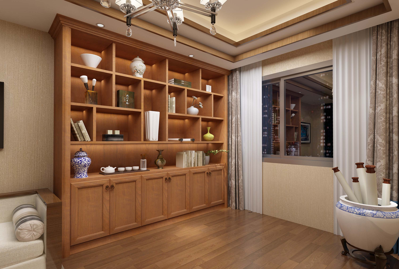 新中式风格书柜-全屋定制电视柜-全屋定制效果图-欢乐